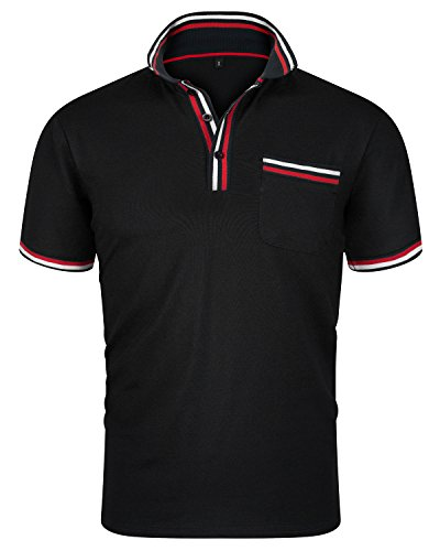 leeve Fitted Polo T Shirt Stylish Collared Solid Golf Tee Black A Size XX-Large ()