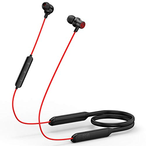 Bluetooth 5.0 Earphones, Super Sound Quality, 16 Hours Play Time, Flexible Silicone Neckband Stereo HiFi Sport Waterproof Wireless Earbud Headphones for iPhone and Android Cellphones