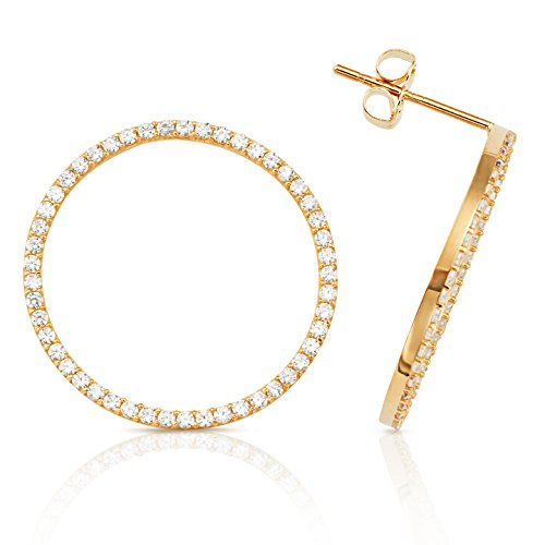 Circle Earrings Adorned with Sparkling White CZ in 14K Yellow (14k Yellow Gold Circle Earrings)