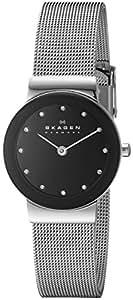 Skagen Women's 358SSSBD Steel Collection Black Glitz Dial Watch