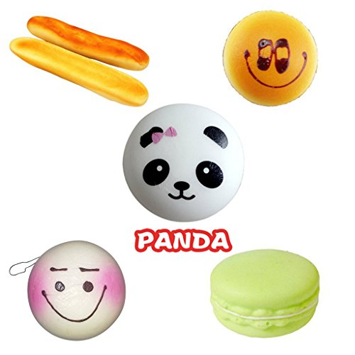 buytra 6 Pack Slow Rise Squishy Charms- French Baguettes, Golden Emoji Bread, Panda, Macaron, Purple Emoji Buns - Baguette Purple Ring