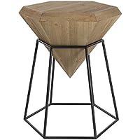 Deco 79 Wood and Metal Diamond Table, Black/Brown