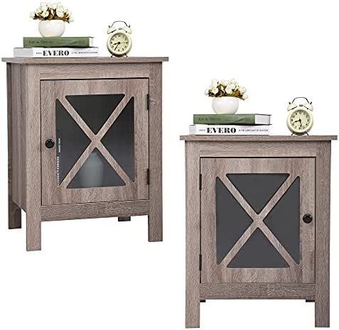 JAXPETY Set of 2 Wooden Nightstand with X-Design Glass Door, End Table Sofa Table Side Table with Rustic Style for Bedroom Living Room Bathroom Office Home Furniture (2-Pack, Rustic Brown)