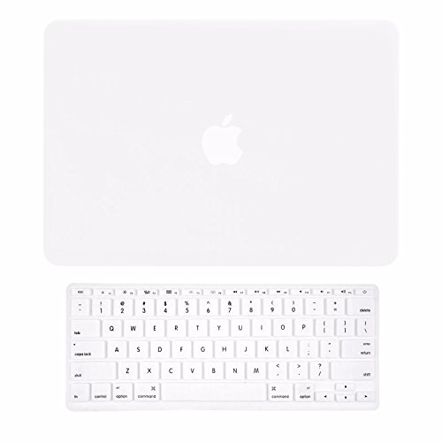 TOP CASE - 2 in 1 Signature Bundle Rubberized Hard Case and Matching Color Keyboard Cover Compatible MacBook Air 11 (A1370 and A1465) - Satin White