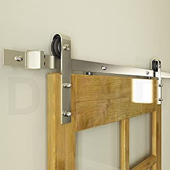 Diyhd 6FT Brushed Nickel Steel Sliding Barn Wood Door Hardware Track Kit