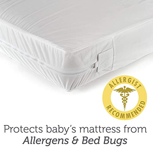 "Sealy SafetyCase Protective Zippered Crib Mattress Encasement -Lab Tested 100% Bed Bug Proof, Waterproof, Hypoallergenic, Soft and Stretchable 52""x28"" (White)"