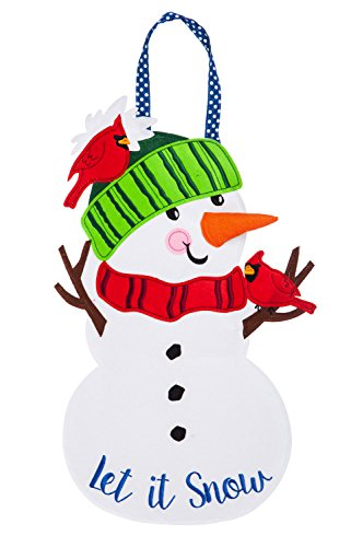 - Evergreen Let it Snow Man Felt Door Décor