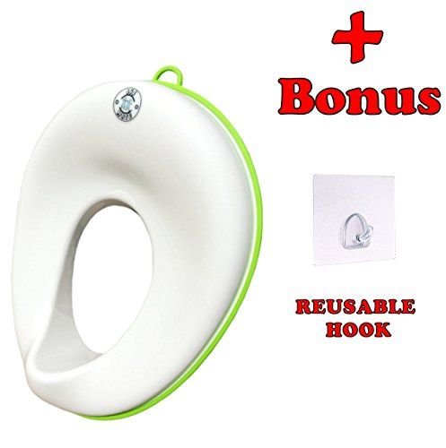 Potty Training Seat For Boys and Girls - Toddlers Toilet Trainer Ring for Oval and Elongated Toilets - Portable Travel Potty Seat - White Non Slip Seat - Hook and Hanging Ring for Storage