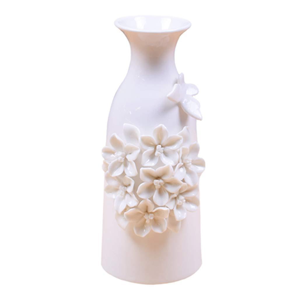 Anding Modern White Ceramic Vase Butterfly and Flower Handmade Ideal for Friends and Family Wedding Desktop Center Vase Perfect Home Decor Vase