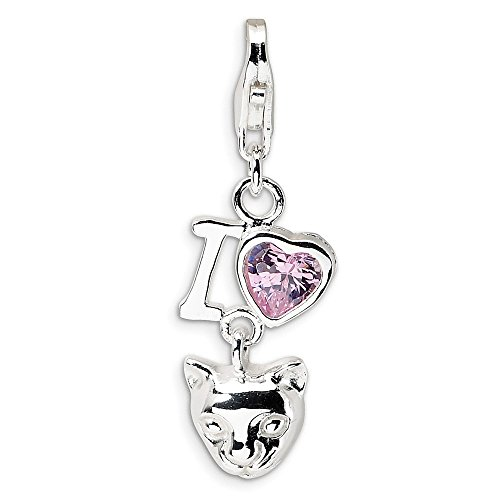 925 Sterling Silver Rh Cubic Zirconia Cz I Love Cats Lobster Clasp Pendant Charm Necklace Animal Cat Fine Jewelry Gifts For Women For Her
