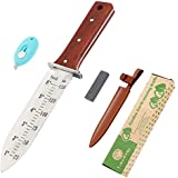 12'' Hori Hori Garden Knife,Perfect Garden Tool for Gardening,Landscaping&Digging(7'' Stainless Steel Blade with Ruler&Wood Handle), Leather Sheath, Whetstone Included, Plus Free Paper Knife!