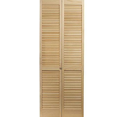 LTL Home Products 810426 Louvered Bifold Interior Wood Door, 30 Inches x 80 Inches, Unfinished Pine