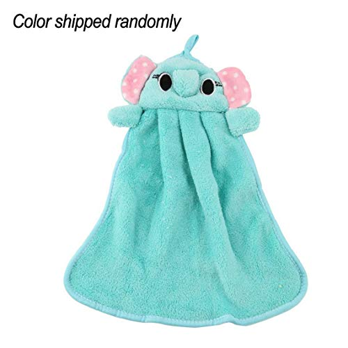 (Chelsea Nursery Soft Plush Fabric Cartoon Animal Hanging Towel Washcloth Hand Towel Blue)