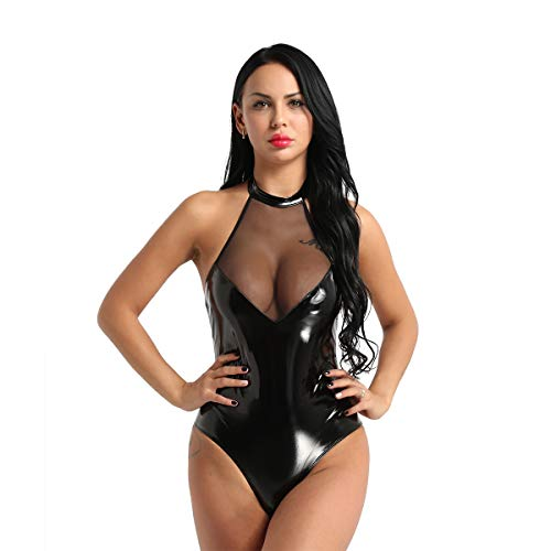 inlzdz Women's PVC Leather Sleeveless Halter Neck Backless Thong Leotard One Piece Teddy Bodysuit Black&Mesh Large