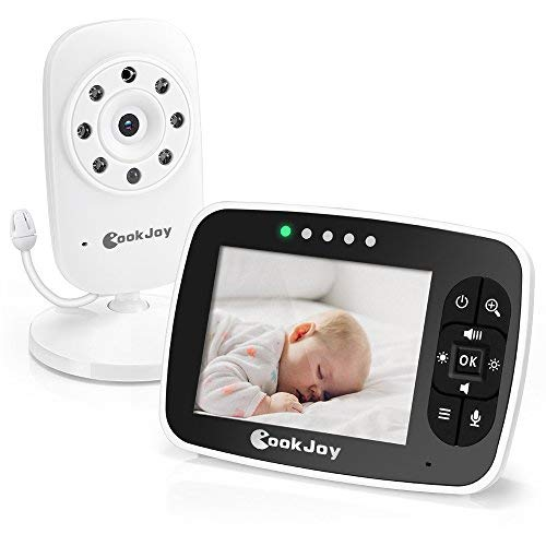 Babyphone Caméra Numérique Sans Fil avec grand écran 3.5', 2.4GHz, Ecoute-bébé Moniteur avec Surveillance de la Température à 2 Voies, Système de Communication Bidirectionnelle