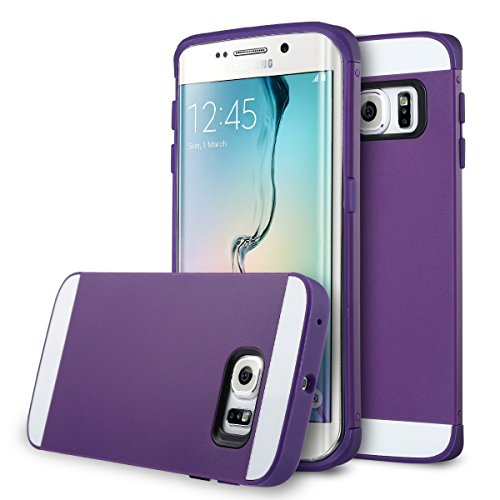 """Galaxy S6 Edge Case, ULAK [Slim Protect] Hybrid with 2 Layer Cover PC and TPU Layers for Samsung Galaxy S6 Edge (5.1"""" inch) 2015 Release Purple + Purple"""