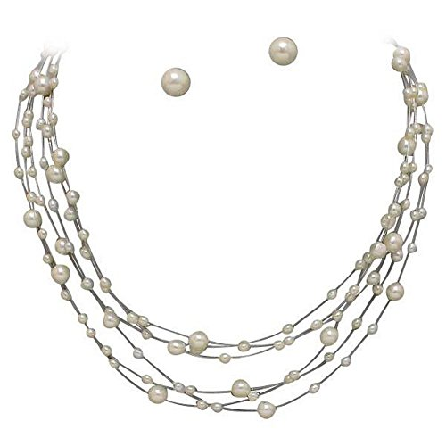 Illusion Pearl Bridal Bridesmaid Necklace Earring Set ivory Cream OffWhite Cream Ivory - Faux Pearl Illusion Necklace Earrings