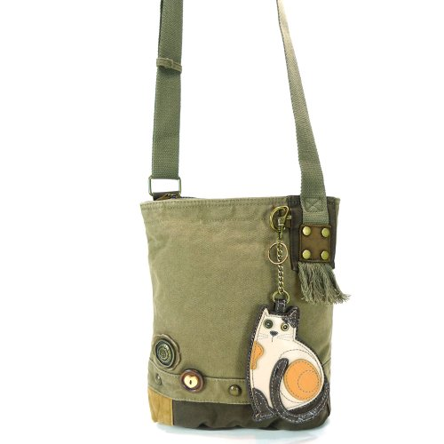 Chala LaZzy Cat Patch Canvas Cotton Messenger Bags with 6 Color Options (Olive) by CHALA (Image #1)