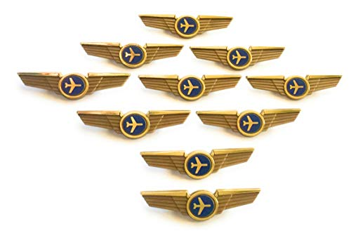 (Aviator Kids Pilot Wings Plastic Pins Pinbacks Badges Lot of 10 Pins Gold)