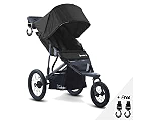 Premium JOGGER Stroller, Car Seat Compatible, Umbrella, Travel Systems Ready! For Baby, Infants, Toddlers And Kids, ULTRALIGHT, Black Color + 2 Free Strap-on Hooks!