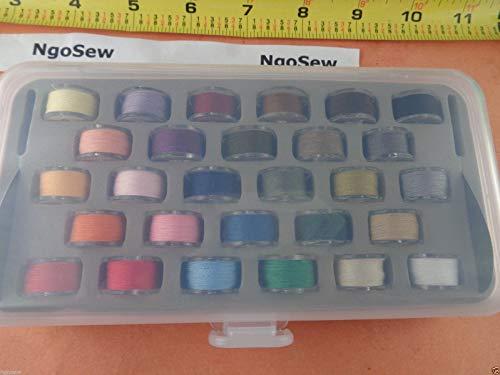NGOSEW Box 28 Plastic Bobbins with Color Thread for Husqvarna Viking Emerald 116 118 183 Sewing - Bobbin Plastic Viking