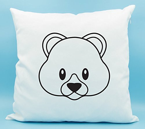Teddy Bear Emoji Pillow Cover - Bear Face Emoji Pillow Cover - Teddy Bear Emoji Cushion Cover- Teddy Bear Pillowcase - Cute Bear Emoji Pillowcase- Gift for Her - 16x16 Grateful Dead Tiki Bears