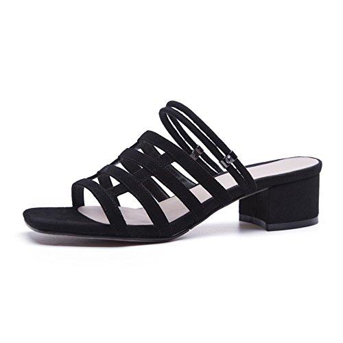 38 Chaussures Cuir Sauvage en 2 Porter Noir Yiwuhu EU Couleur des Deux avec Taille 3 Pantoufles Sauvage Noir Owpddg