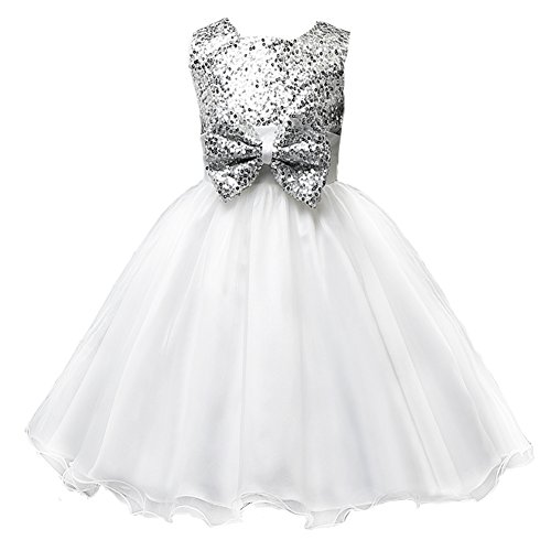 Pagent Dresses For Kids (Z.D Girl's Flower Dress Party Wedding Gown Bridesmaid Tulle Ruffle Dress Girl, White, US 7,White,Size12/US 8)