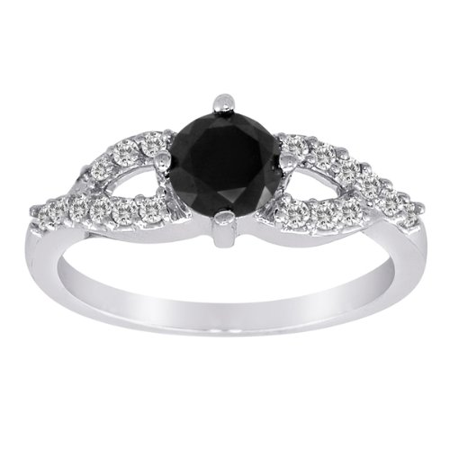 10k White Gold Black Diamond with White Diamond-Accent Ring (1.00 cttw, H-I Color, I2-I3 Clarity), Size 6