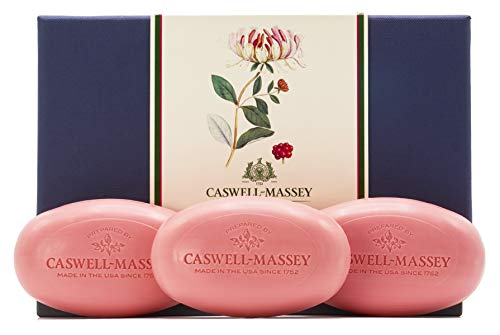 Caswell-Massey Triple Milled Luxury Bath Soap Set - Honeysuckle Fragrance - Made in USA - 3.25 Ounces Each, 3 Bars