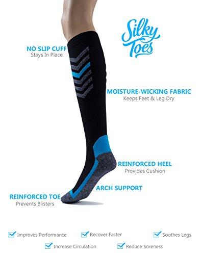 Silky Toes Compression Socks for Men & Women (20-30 mmHg) Athletic Fit for Running, Nurses, Shin Splints, Flight Travel & Maternity Pregnancy (Multi Pack- Grey/Blue/Black, Medium) by Silky Toes (Image #8)