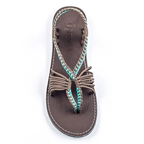 - Plaka Comfortable Sandals for Womens Turquoise Gray 9 Seashell