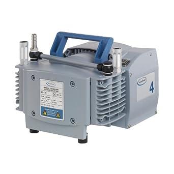 "BrandTech 731003 PTFE ME4 NT Diaphragm Vacuum Pump with US Plug, 120V Power Supply, 2.60cfm Pumping Speed, 9.41"" Width x 7.80"" Height x 9.57"" Depth"