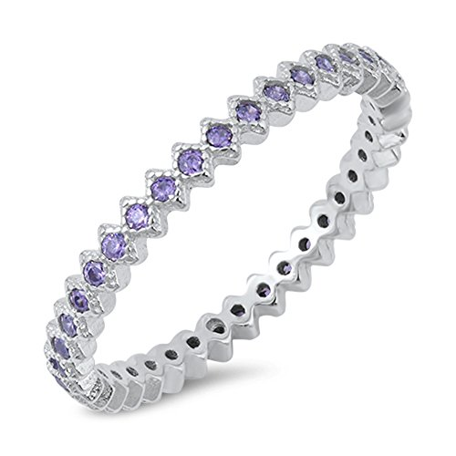Eternity Simulated Amethyst Fashion Stackable Ring .925 Sterling Silver Band Size 7