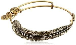 "Alex and Ani Spiritual Armor ""Plume"" Rafaelian Gold-Tone Bangle Bracelet, 7.75"""