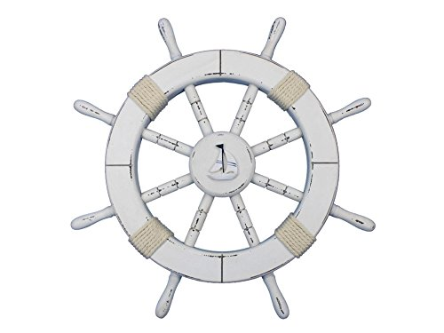 Hand Craft Model Rustic White Ship Wheel with Sailboat 18...