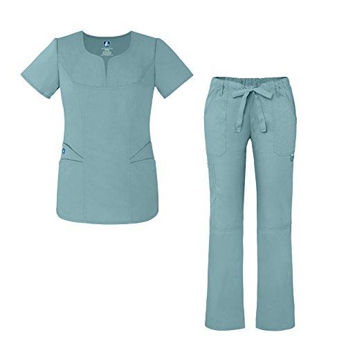 (Universal Women's Scrub Set – Fashion Scrub Top and Multi-Pocket Scrub Pants - 903 - Submarine - XXXS)