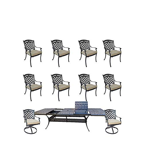 11-piece patio dining set cast aluminum Elisabeth rectangle extendable dining table.