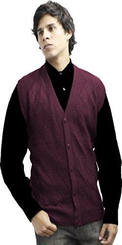 (Mens Soft Alpaca Wool Knitted V Neck Sweater Button Down Golf Vest Diamond Design (XL, Burgundy))