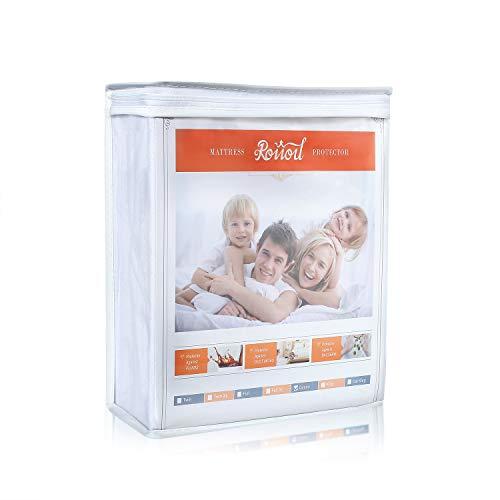 Roiiou Waterproof Mattress Protector, Mattress Protector Queen Size, Hypoallergenic Vinyl Free