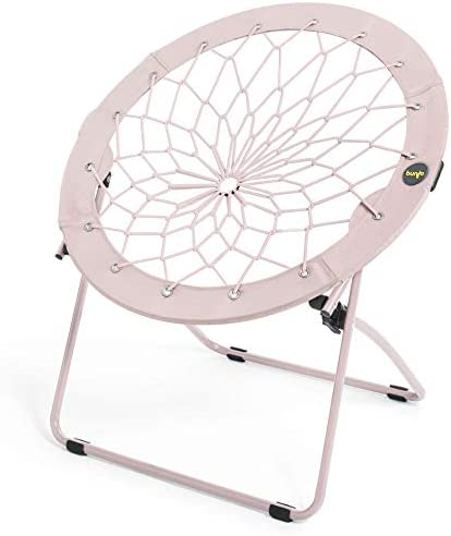 Bunjo Bungee Chair Dorm. Bedroom, Entertainment Center, Patio Furniture, Sporting Events and Camping Light Pink