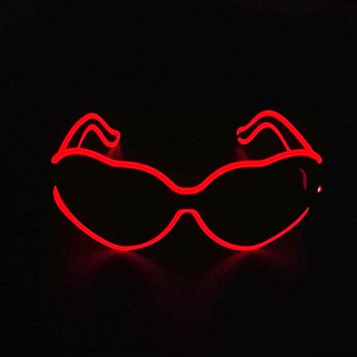 Light up EL wire Heart Shaped Sunglasses LED Glowing Rave Party Glasses With Dark lens