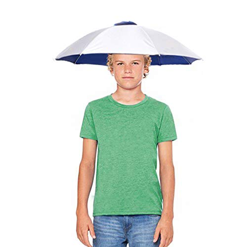 Luwint 26'' Diameter Fishing Umbrella Hat, Hands Free UV Protection Umbrella Headwear Cap for Youth Teen Girls Boys Hiking Gardening Golf -