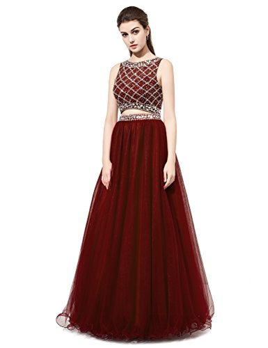 DRESSTELLS Long Prom Dress 2016 Two Pieces Tulle Evening Gowns With Beads Burgundy Size 4