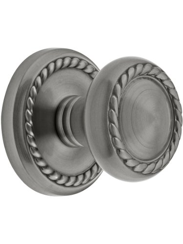 Classic Rope Rosette Set With Matching Rope Door Knobs Passage In Antique Pewter. Antique Reproduction ()