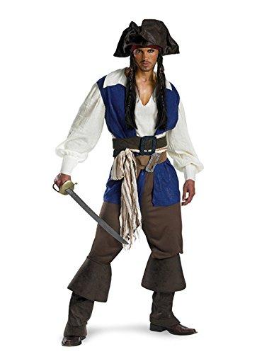 [Disguise Men's Disney Pirates Of The Caribbean Captain Jack Sparrow Deluxe Costume, Brown/Blue White,] (Jack White Halloween Costume)