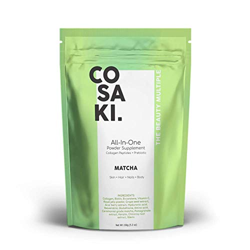 (Cosaki Collagen Peptides Powder + Antioxidants + Prebiotic, All-Natural Gluten Free and Non-GMO (150g Pouch) (Matcha))
