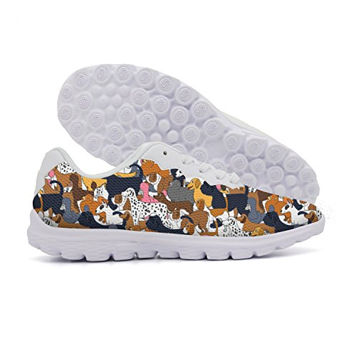 rttyl et67u67 Funny Womens Cute Cartoon Different Dogs Hunting Track Sneaker