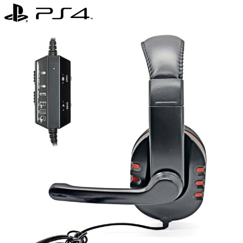 iProtect Gaming Headset mit Mikrophon für Sony PlayStation 4 PS 4 Headphones rot