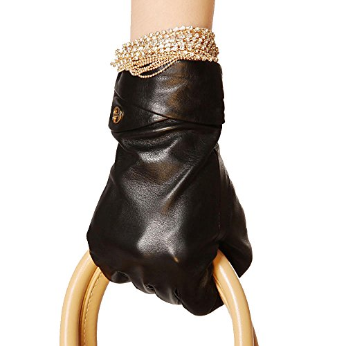 ElmaレディースGenuineラムスキン革手袋スエードCuffシルク裏地ゴールドメッキロゴ